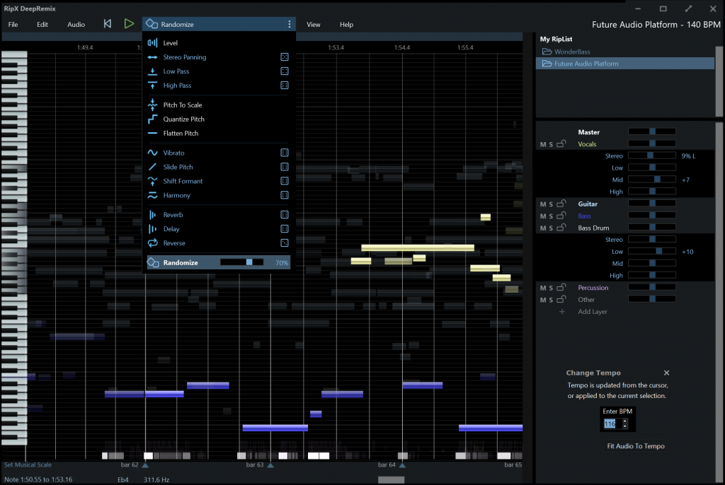 Remix software that extracts stems using source separation and offers powerful audio editing tools